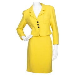 A Vintage 1997 Cruise Collection Chanel Canary Yellow Skirt Suit