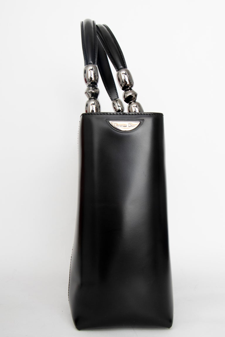 A Vintage Black Christian Dior Leather Hand- and Shoulder bag  In Good Condition For Sale In Copenhagen, DK