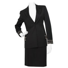 A Vintage Black Gianni Versace Couture Studded Wool Skirt Suit