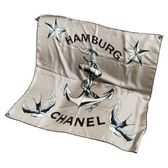 A Vintage Blue and Gray Silk Foulard By Chanel