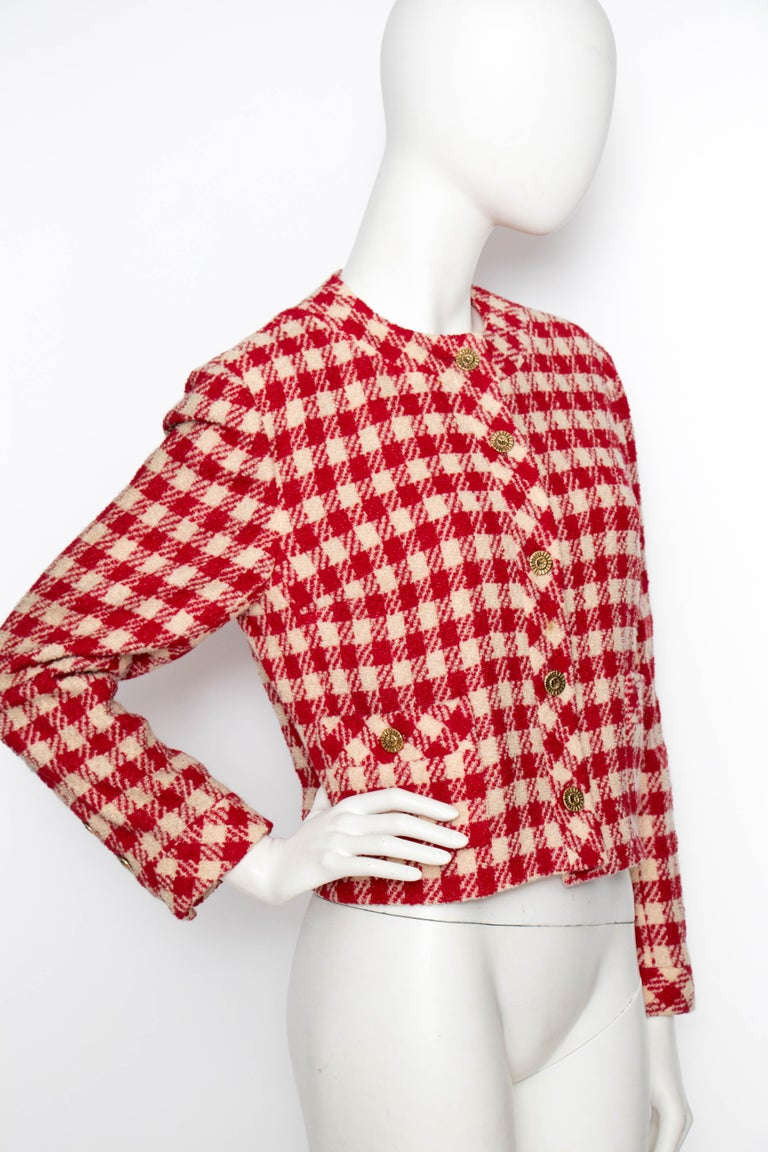 Pink A Vintage Chanel Red and White Cropped Boucle Jacket  For Sale