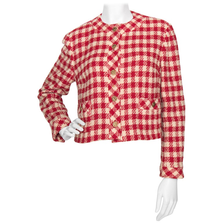 A Vintage Chanel Red and White Cropped Boucle Jacket  For Sale