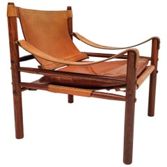 "A Vintage Cognac Leather and Rosewood ""Sirocco"" Easy Chair by Arne Norell"