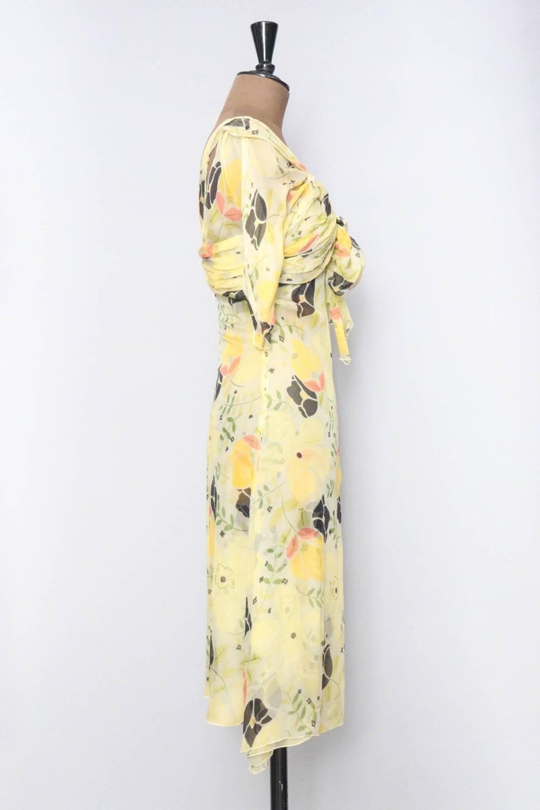 Beige A Vintage Floral Chloé Silk Chiffon Dress XS For Sale