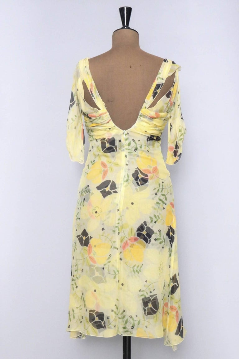 A Vintage Floral Chloé Silk Chiffon Dress XS In Good Condition For Sale In Copenhagen, DK