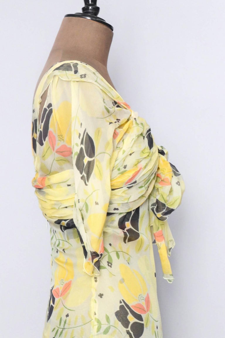 A Vintage Floral Chloé Silk Chiffon Dress XS For Sale 1