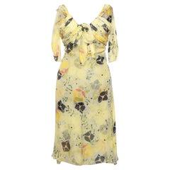 A Vintage Floral Chloé Silk Chiffon Dress XS