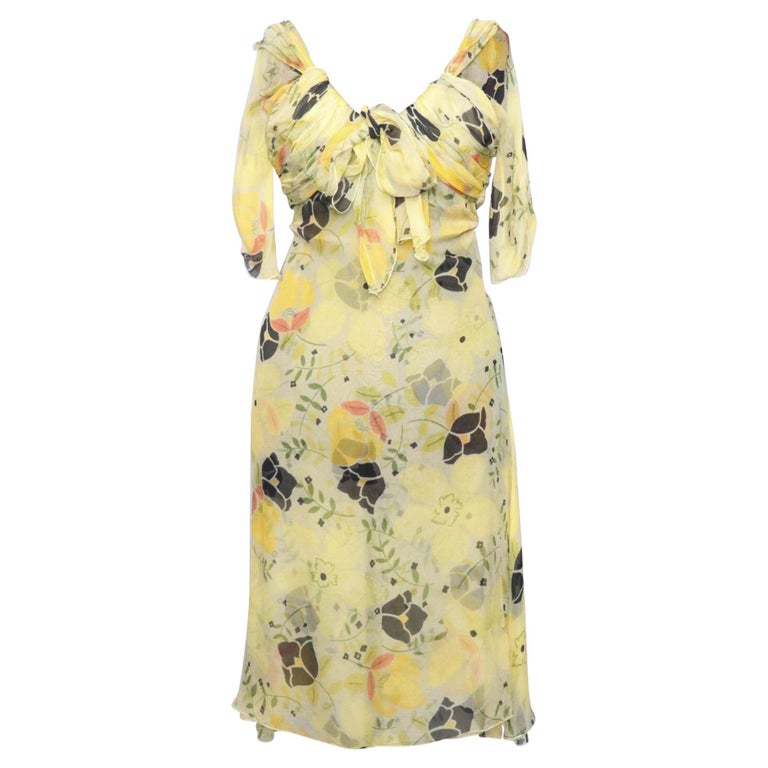 A Vintage Floral Chloé Silk Chiffon Dress XS For Sale