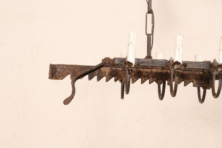 Vintage French Iron Spit-Jack Ten-Light Chandelier For Sale 6