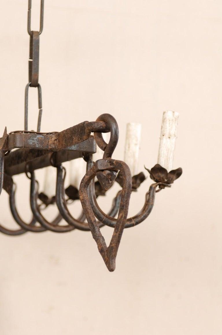 Vintage French Iron Spit-Jack Ten-Light Chandelier For Sale 3