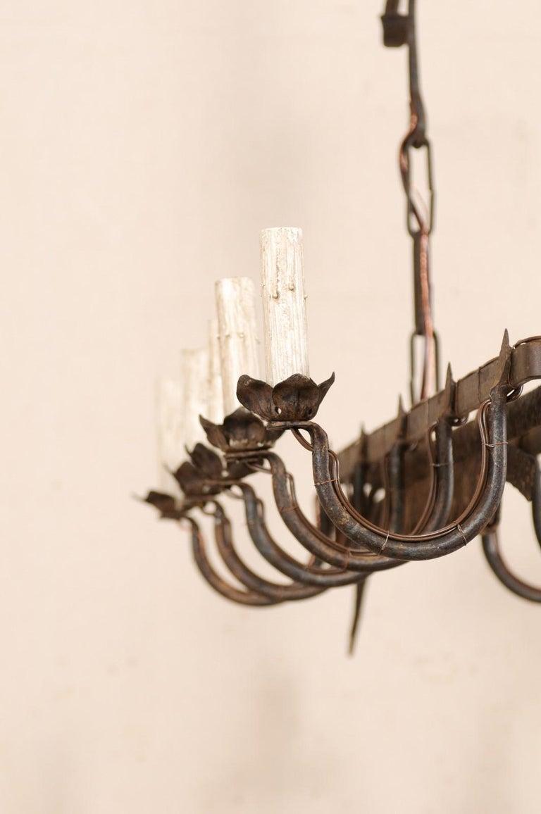 Vintage French Iron Spit-Jack Ten-Light Chandelier For Sale 4
