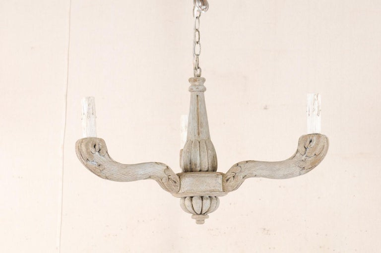 20th Century Vintage French Painted and Carved Wood Three-Arm Light Chandelier For Sale