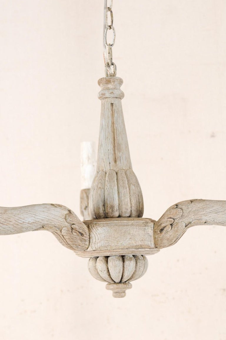 Vintage French Painted and Carved Wood Three-Arm Light Chandelier For Sale 2