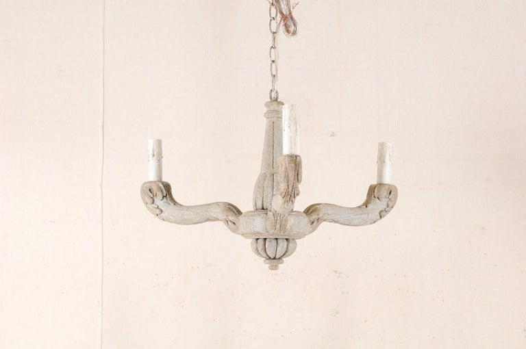 Vintage French Painted and Carved Wood Three-Arm Light Chandelier For Sale 4