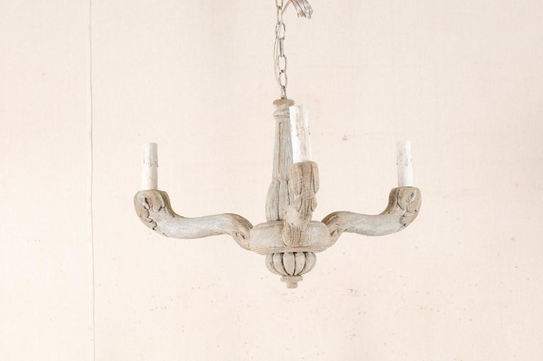 Vintage French Painted and Carved Wood Three-Arm Light Chandelier For Sale 5