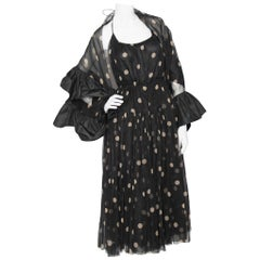 A Vintage Galanos Black Halterneck Evening Dress With Matching Scarf
