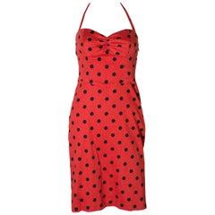A Vintage Halter Neck Polka Dot Dress by Betsey Johnson
