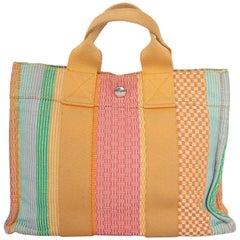 A Vintage Hermès 'Deauville' Cotton Handbag