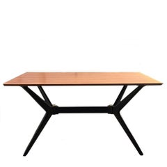 Vintage Italian Dining Table with a Sculptural Base with Brass