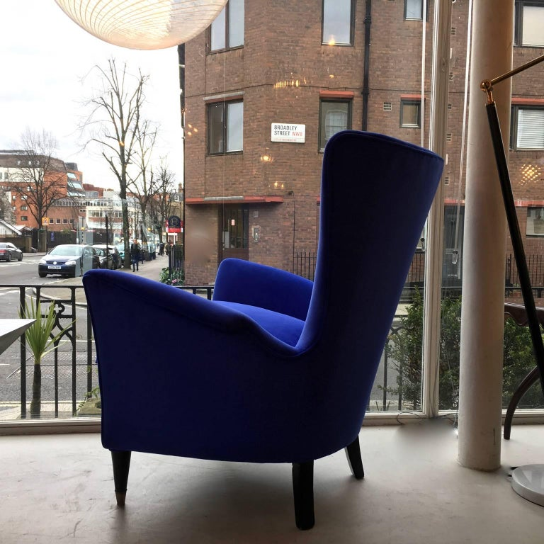 Brass A Vintage Italian Mid-Century Modern Lounge Chair, Blue Velour and Black Legs For Sale