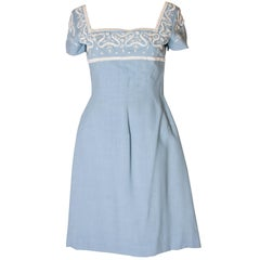 A Vintage Jean Allen 1960s Pale Blue Cotton and Beaded Day Dress
