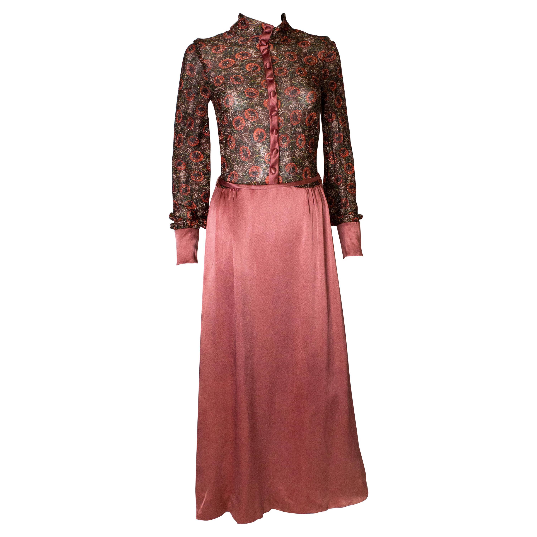 A Vintage Jean Varon 1970s Floral Lurex Evening Gown