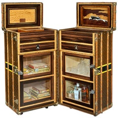 Vintage Louis Vuitton Double 'Malle Armoire' Cocktail Bar and Humidor, 1920s