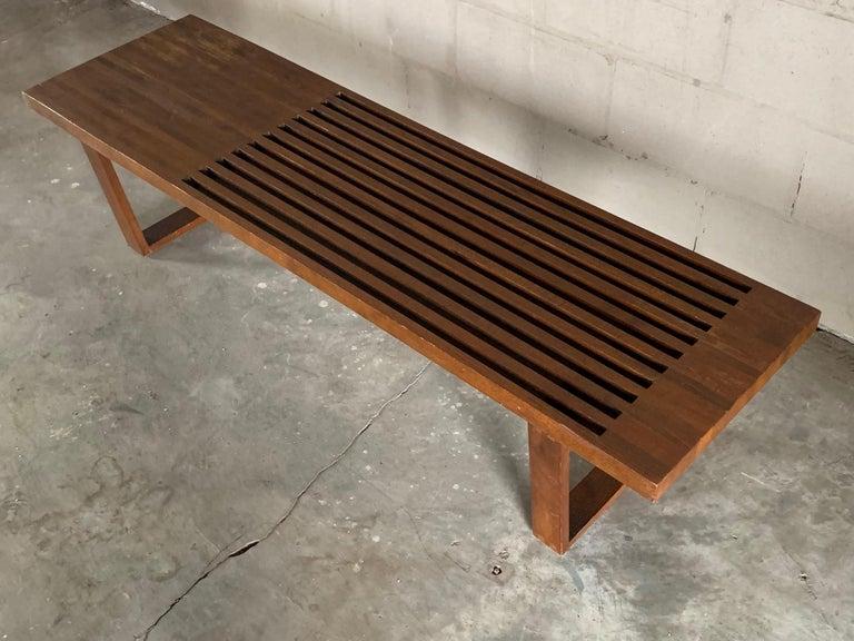 Vintage Midcentury Slat Bench In Good Condition For Sale In St.Petersburg, FL