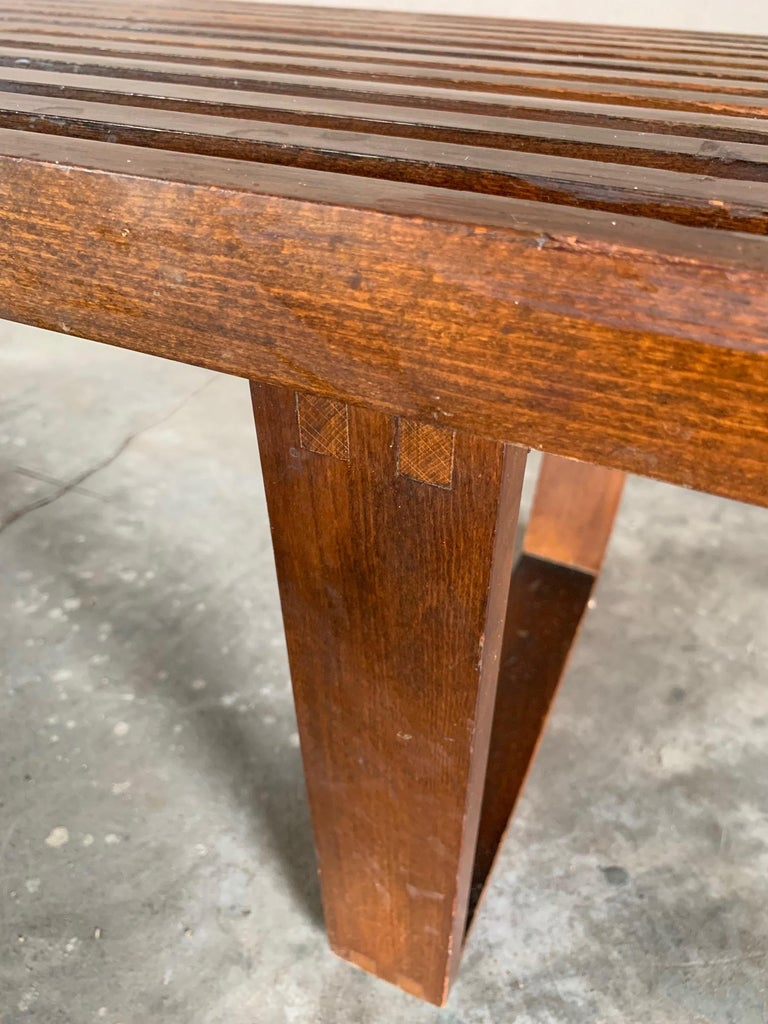 Mid-20th Century Vintage Midcentury Slat Bench For Sale