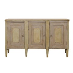 Vintage Painted Wood Buffet Sideboard Cabinet in Grey with Soft Green Accents