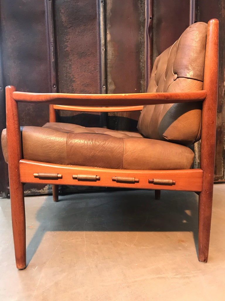 Vintage Pair of Ingemar Thillmark Lounge Chairs in Leather and Beech Wood For Sale 9