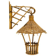 Vintage Small Rattan Sconce in a Shape of a Lantern
