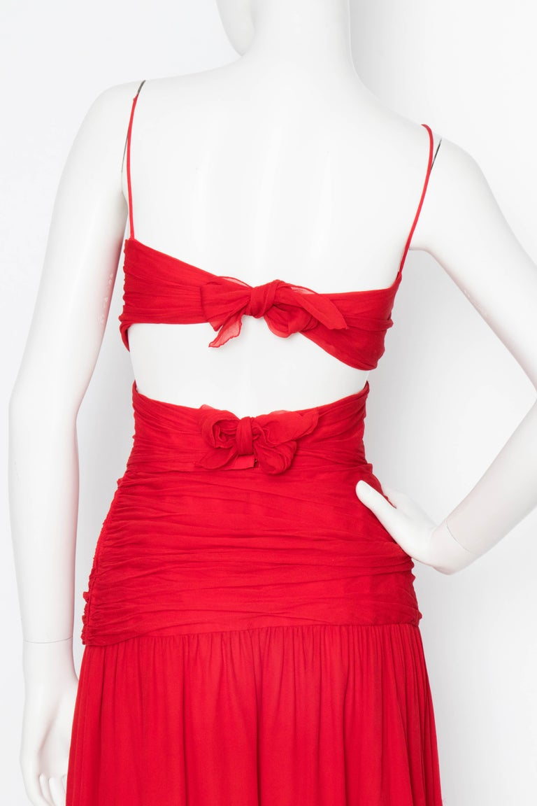 A Vintage Valentino Red Silk Organza Gown  For Sale 1