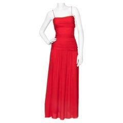 A Vintage Valentino Red Silk Organza Gown