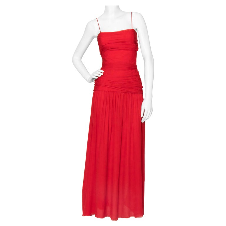 A Vintage Valentino Red Silk Organza Gown  For Sale
