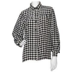 A Vintage Yves Saint Laurent Houndstooth Silk Blouse