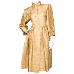 A Vintage Yves Saint Laurent Rive Gauche Brocade Coat Dress S