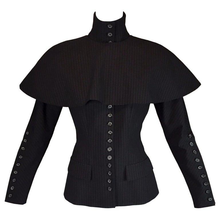 "A/W 1998 ""Joan"" Alexander McQueen Runway Catholic Striped Jacket Cape Ensemble"
