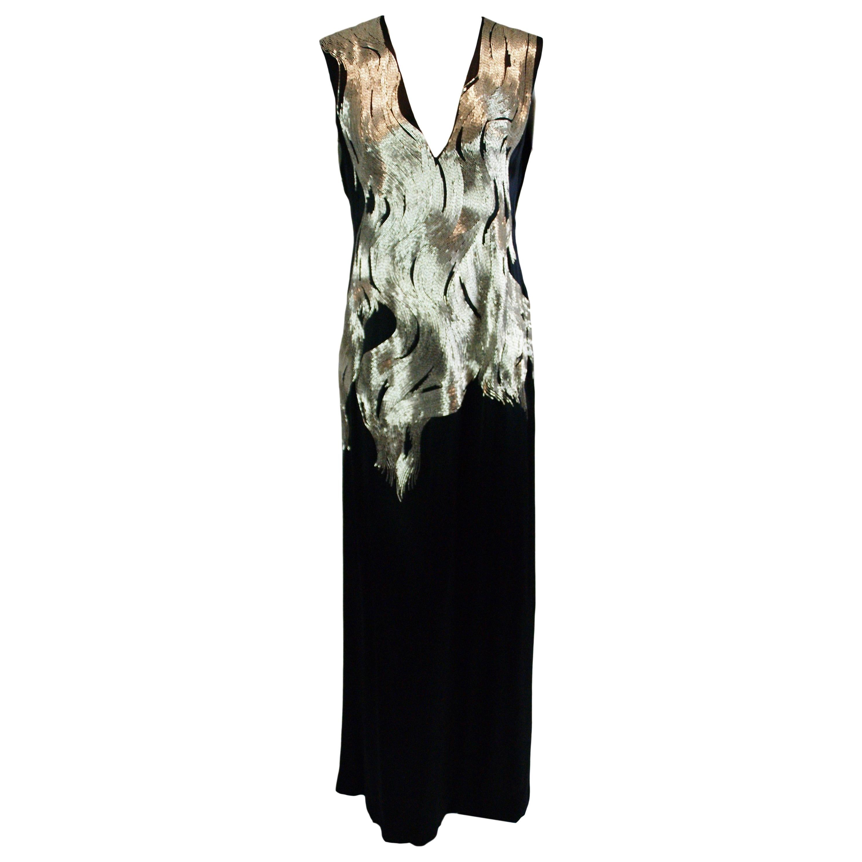 4defd134eb2b A/W 2007 Runway Alexander McQueen Flame Beaded Black Silk Gown Dress 38 For  Sale at 1stdibs