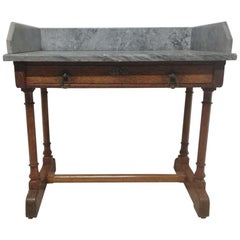 A W N Pugin Gillows, Gothic Revival Oak Marble-Top Washstand with Carved Florets