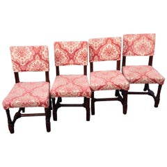 A W N Pugin, Stamped Gillows, a Set of Four Gothic Revival Oak Dining Chairs