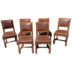 A W N Pugin, Stamped Gillows, a Set of Six Gothic Revival Oak Dining Chairs