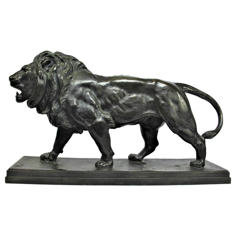 """A Walking Lion"" Bronze Sculpture by Antoine Louis Barye"