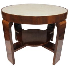 Walnut and Parchment Art Decó Table, France, 1930
