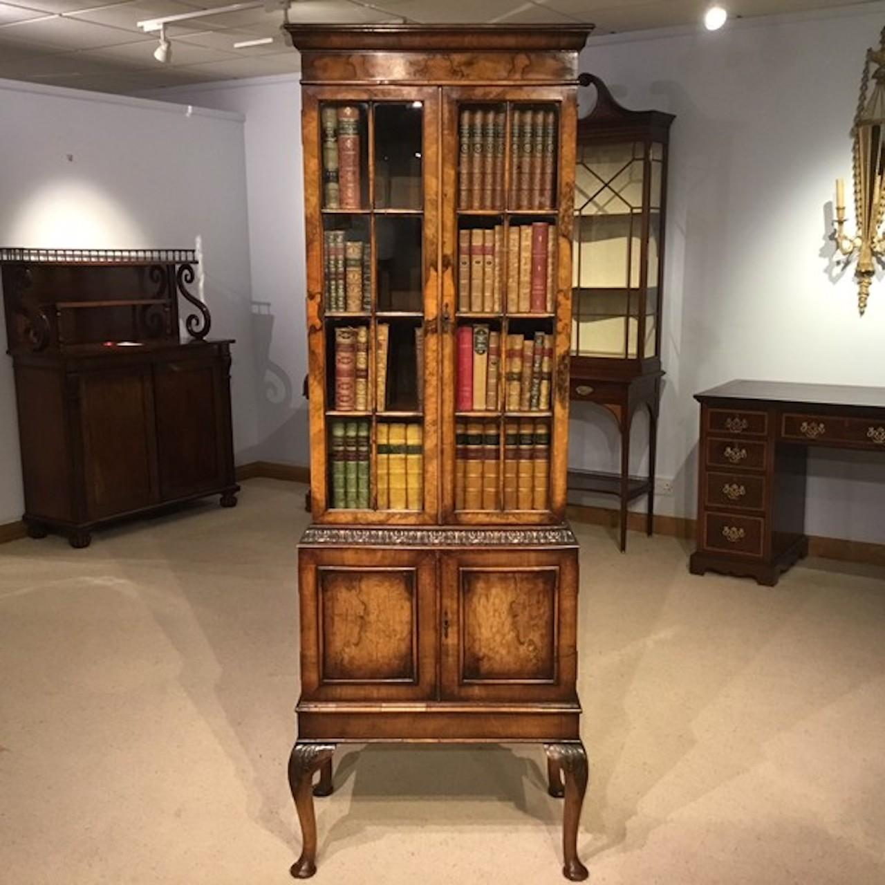 Walnut George I Style Bookcase By Maple And Co At 1stdibs