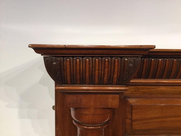 Late 19th Century Walnut Late Victorian Period Antique Fire Surround For Sale