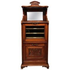 Walnut Late Victorian Period Music Cabinet