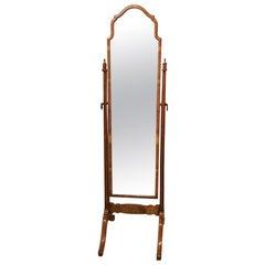 Walnut Queen Anne Style Antique Cheval Mirror