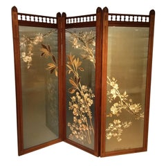 Walnut Victorian Aesthetic Period Three Fold Vanity Screen