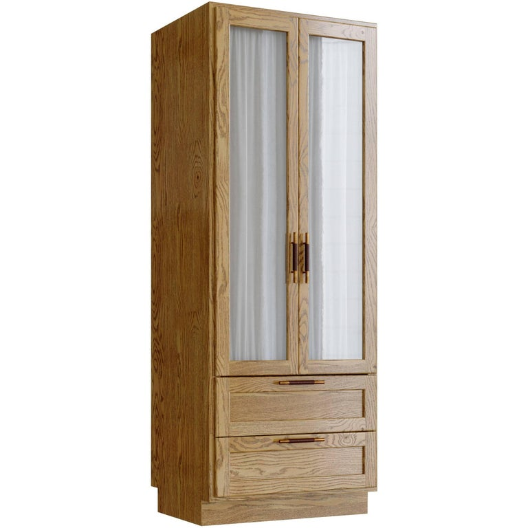 Wardrobe for Sanders by Lind + Almond in Natural Oak, Brass and Leather For Sale